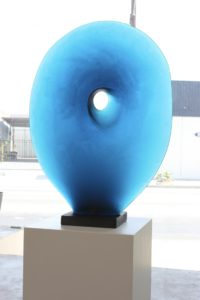 filip-nizky-massive-melted-glass-sculpture-blue-disc-presented-by-knupp-gallery-los-angeles