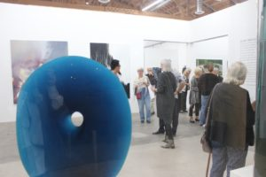 filip-nizky-massive-melted-glass-sculpture-the-blue-disc-aquamarine-blue-velvet-and-glass-opening-reception-at-knupp-gallery-la