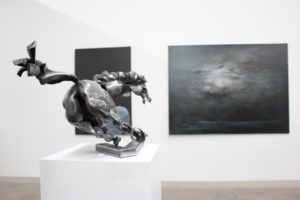 hammered-iron-horse-sculpture-by-vaclav-rubeska-and-oil-painting-by-jan-uldrych-presented-by-knupp-gallery-los-angeles