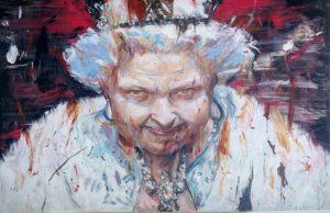 martin sarovec acrylic painting queen alive, queen elizabeth, 120 x 180 cm