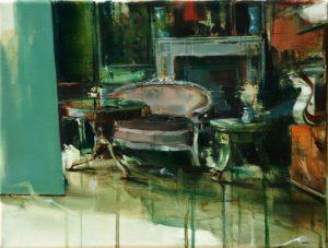 tomas spevak artist oil painting Castle, 12 x 16´´ (30 x 40 cm), knupp gallery la, exhibition between spaces