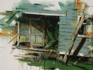 tomas spevak oil painting Backyard, 39x5 x 51´´ (100 x 130 cm)