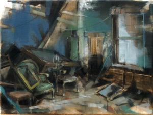 tomas-spevak-oil-painting-collectors-interior-12x16-presented-by-knupp-gallery-los-angeles-contemporary-fine-arts