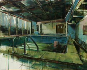 tomas spevak oil painting Swimming Pool, 31,5 x 40´´ (80 x 100 cm)