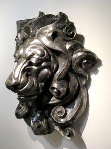 vaclav-rubeska-lions-head-hammered-iron-sculpture-90x60-cm-knupp-gallery-los-angeles