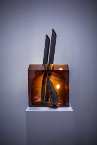 bohumil-elias-jr-guardian-of-a-bridge-melted-glass-sculpture-on-a-bronzeiron-base-presented-by-the-knupp-gallery-los-angeles
