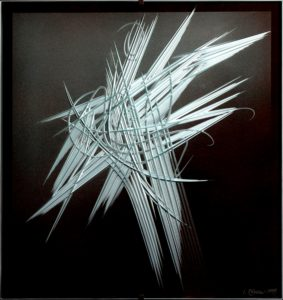 Ivan kolman - Ikaros, 75x68, 1999, cut glass painting, presented by knupp gallery los angeles
