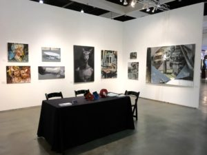 la art show 2017 knupp gallery la installation, martin sarovec, jan uldrych, tomas spevak paintings