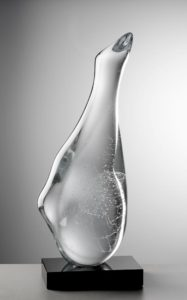 bohumil elias jr. - swan morning, melted optical glass, stone base, 78x23x31 cm