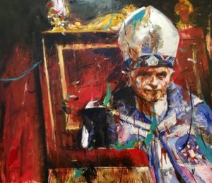 martin sarovec - acrylic painting of The Pope Benedikt XVI, canvas, 140x160 cm, presented by knupp gallery los angeles